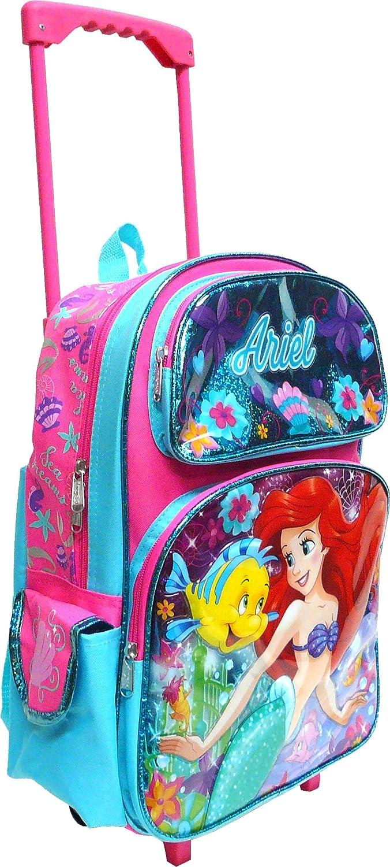 Disney The Little Mermaid Ariel 16Large Rolling School Backpack Girls Book Bag