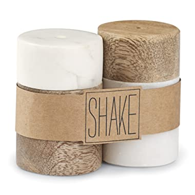 Mud Pie 4514010 Marble and Mango Wood Salt and Pepper Shaker Set, 4 X 1.5, White