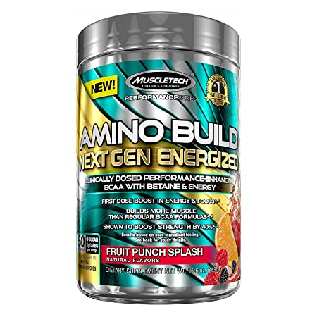 Amino Build by MuscleTech – Superior Strength Enhancing BCAA Post-Workout Supplement 50 Servings, Fruit Punch