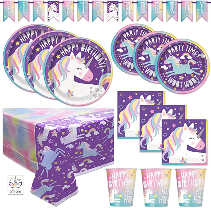 Rainbow Unicorn Birthday Party Supplies Tableware Set - Plates, Napkins, Cups, Tablecloth, Banner Decoration (Deluxe - Serves 16)