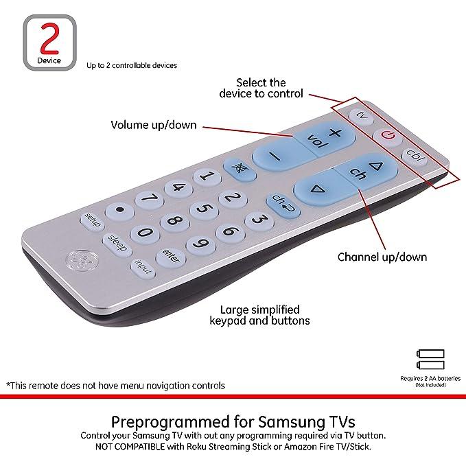 GE Universal Remote Control for Samsung, Vizio, LG, Sony, Sharp, Roku,  Apple TV, RCA, Panasonic, Smart TVs, Streaming Players, Blu-ray, DVD,  Simple