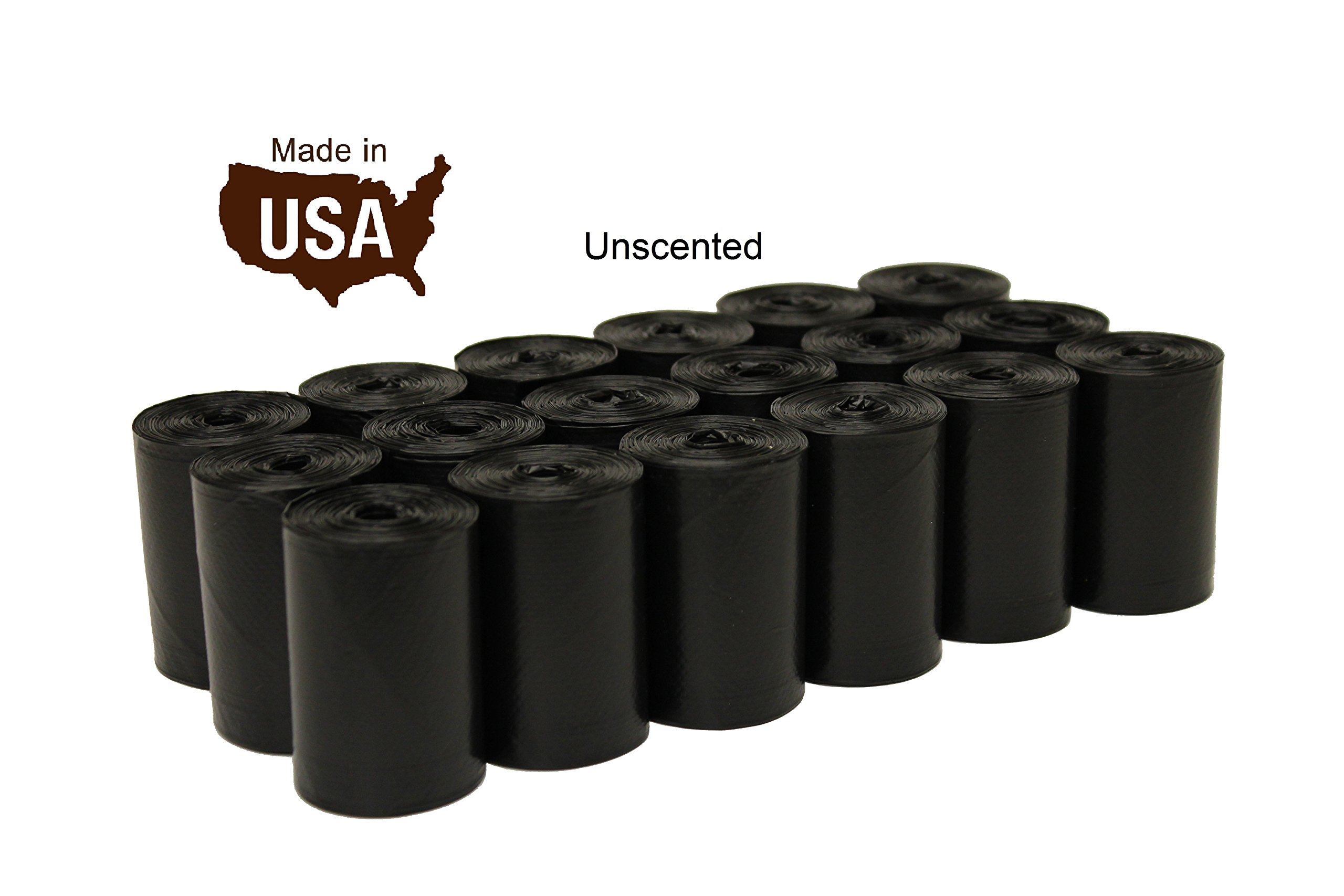 Five Star Pet Unscented 9'' x 15'' Made in USA Easy Open Poop Bags Dog Waste Bags, Free Dispenser, 18 Refill Rolls, 270 Count, Black