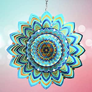 HS's Creation Wind Spinner Hanging Kinetic 19 Gauge 3D Metal with Swivel Hooks Sun Catcher for Outdoor Garden Decoration Handcrafted Art Gift Ornaments Sculpture Mandala Lucky Halo 12 Inch