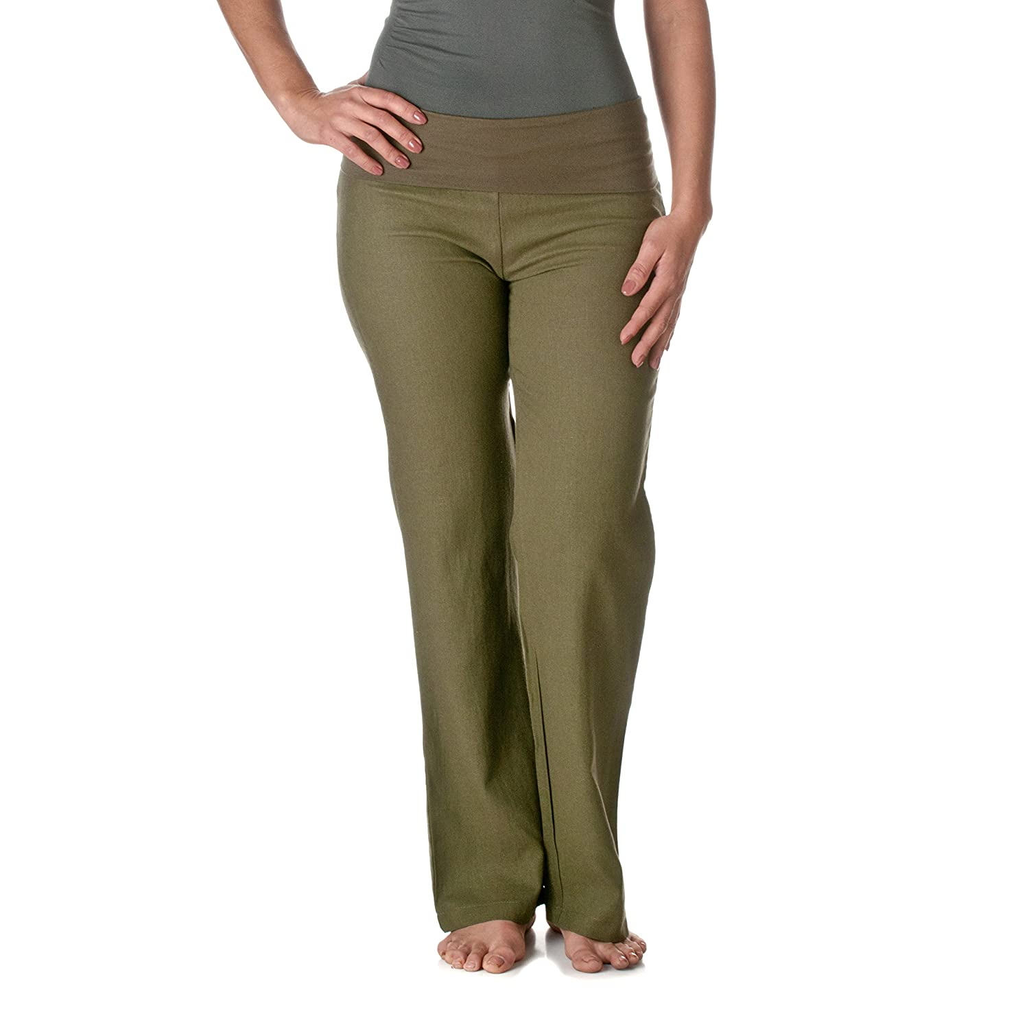 Love Tree Women's Fold-Over Waist Linen Pants Riverberry