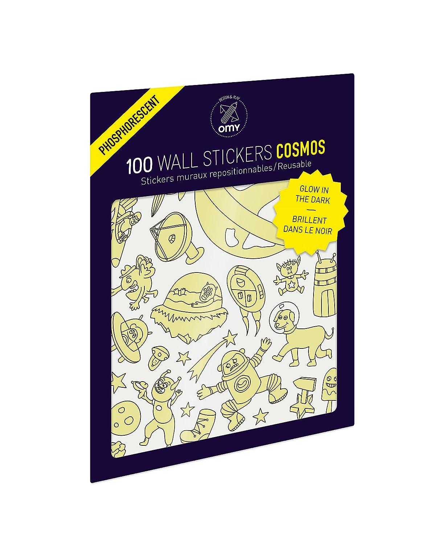 OMY STIK12 Cosmos Pochette de Planches de Sticker Phosphorescent Papier Multicolore 25 x 18 x 24 cm