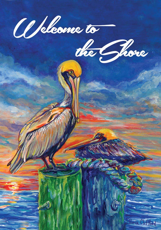 Toland Home Garden Pelican Pier 12.5 x 18 Inch Decorative Welcome Shore Ocean Sunset Bird Garden Flag