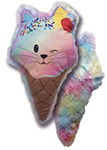 "Cuddle Barn   Sweetie Treatz Throw Pillow - Otto Gelato - 15"" Ice Cream Cat Pillow for Kids   Colorful Rainbow Dessert Home décor Soft Plush"