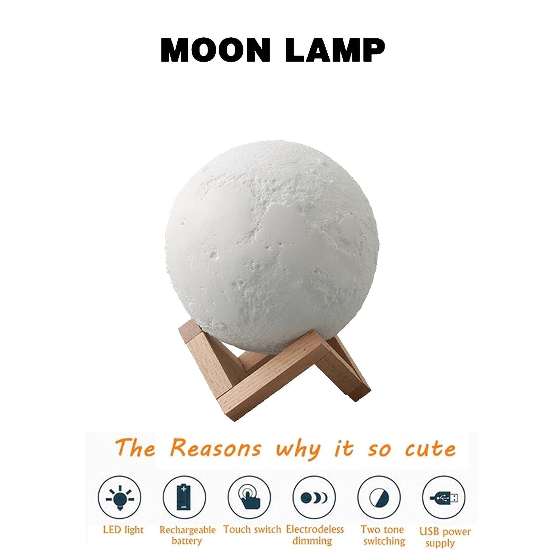 FastDirect Lampara de Luna con USB Recargable Impresión 3D Lampara ...
