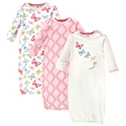 Touched by Nature Baby Organic Cotton Gown, Butterflies 3-Pack, 0-6 Months