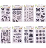 Clear Stamps for Cards Making 8 Sheets Scrapbook Rubber Silicone for DIY Scrapbooking Seal Photo Album Wish Decorative Butterfly Love Heart Words (8 sheets)