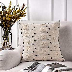 Azume 18 x 18 Inch Boho Tufted Throw Pillow Cover with Tassel Cotton Woven Cushion Cover Tribal Pillow Cover for Living Room, Bedroom, Office Cushion, Bench, Couch, Sofa, Chair, White