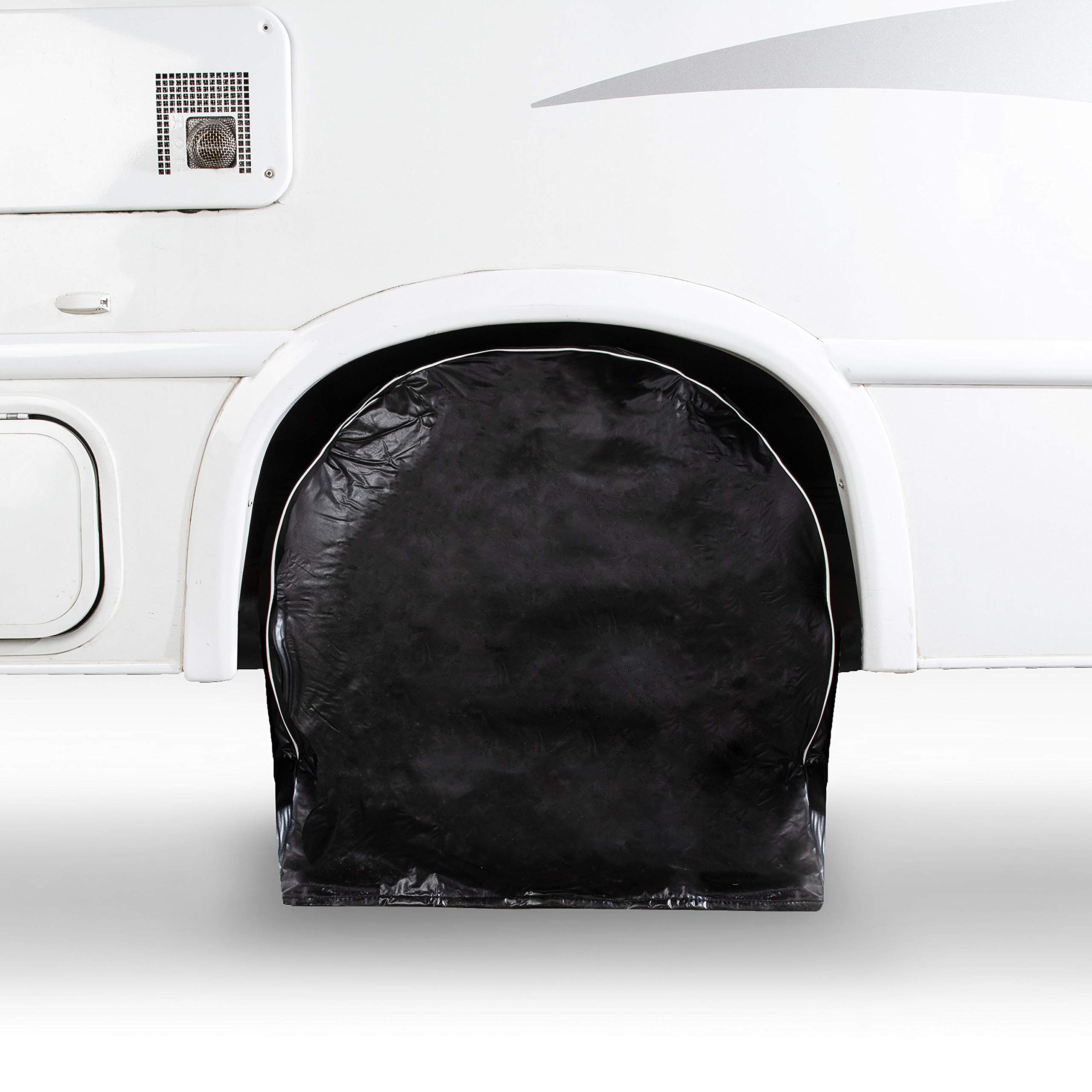 HJO Products Set of 4 Wheel Tire Covers - Black Vinyl Waterproof UV Protective RV, Trailer, Camper, Truck Tire Protectors, Fits 27'' to 29'' Diameter – Premium Heavy Duty Protection for Your Tires