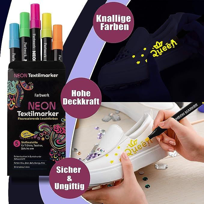 con effetto neon Farbwerk colori UV per maglietta colori fluorescenti borsa e tessuto Pennarelli fluorescenti per tessuti