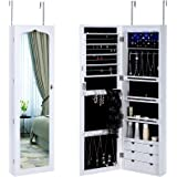 SONGMICS Jewelry Cabinet LED Light Wall Door Mounted Lockable Jewelry Armoire with Mirror and 6 Drawers White UJJC88W