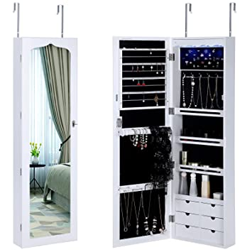 SONGMICS 4 LEDs Jewelry Cabinet 6 Drawers Lockable Wall Door Mounted  Jewelry Armoire With Mirror White