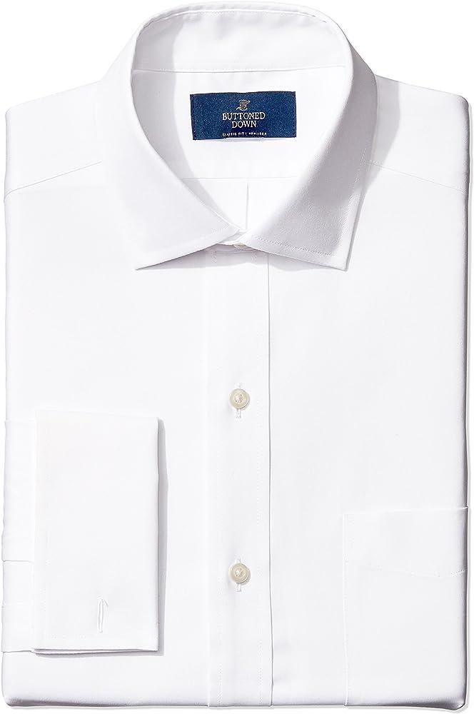 Marca Amazon – BUTTONED DOWN – Camisa de vestir con puño francés de corte clásico con cuello abierto de algodón Supima para hombre que no necesita planchado, Blanco (white), 14.5