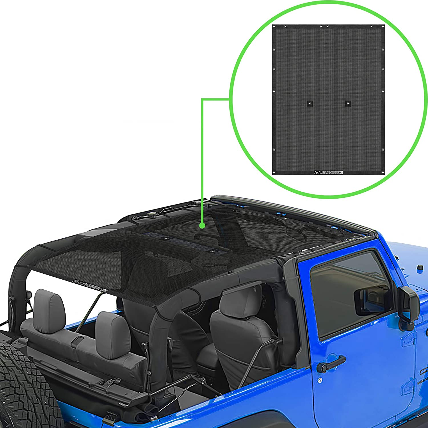 in Black 2007-2018 SPIDERWEBSHADE Jeep Wrangler Mesh Shade Top Sunshade UV Protection Accessory USA Made for Your JK 2-Door