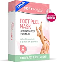 Soft Touch Foot Peel Mask, Exfoliating Callus Remover (2 Pairs Per Box) Cracked Heels, Dead Skin Treatment for Baby Soft Fee