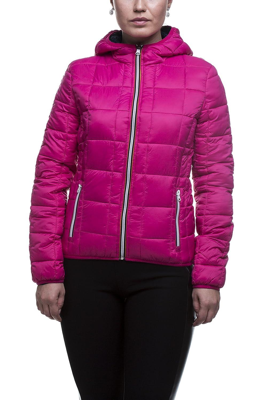 Pulsante Daunenjacke Damen rosa langarm Übergangsjacke