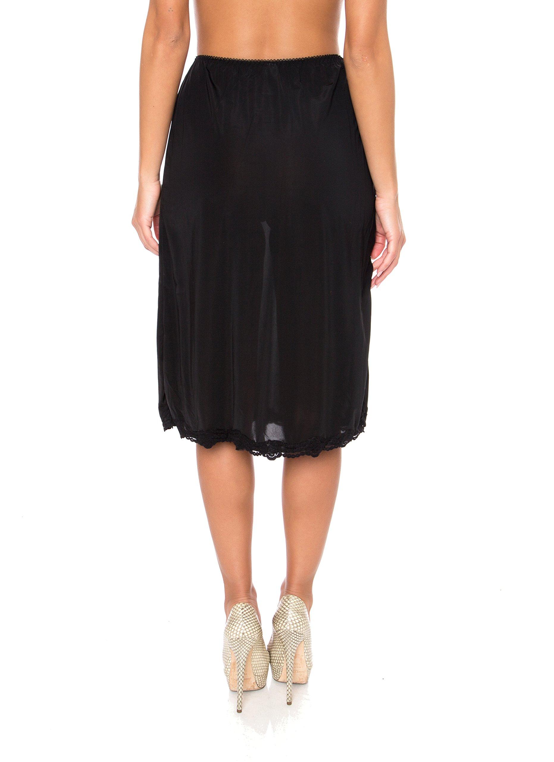 Kathy Ireland Womens Microfiber Half Slip Skirt with Lace Trim Underwear 1X-Large Black