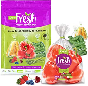 Xtend Fresh Produce Bags for Fridge Storage, 45 Count (20M, 20L, 5XL), Reusable, BPA-Free, Store Vegetables, Fruits, and Herbs, Retains Freshness and Extends Shelf Life