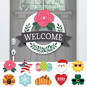 Big Dot of Happiness Holiday Welcome - Front Door Seasonal Decor - Interchangeable Wreath