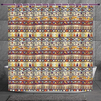 Stylish Shower Curtain 20 Primitive DecorMexican Style Ethnic Doodles Triangles Circles Folkloric Geometric