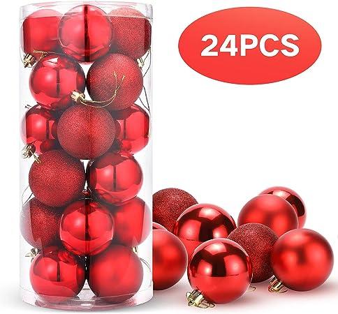 SFERE IN VETRO PZ 24 COLORI VARI Natale Addobbi Albero Decorazioni Festa Palle