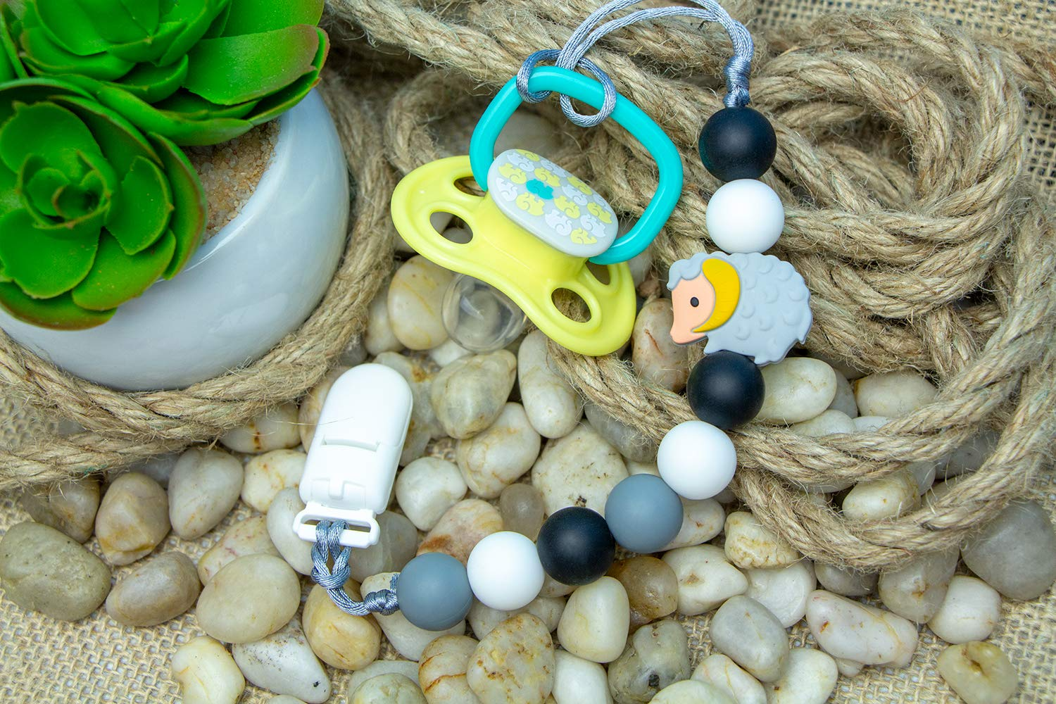 Ram Pacifier Clip Holder Handmade in Canada Green Soothie or Other Pacifiers NUK Tommee Tippee // High Quality Silicone Teething Beads Compatible with MAM