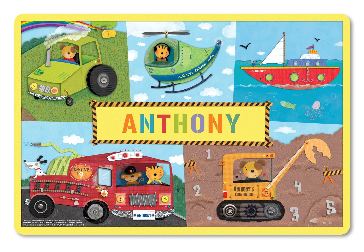 Personalized Placemat Craft Mat Firetruck by I See Me!