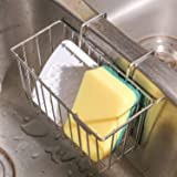 Kitchen Sponge Holder, Sink Caddy Organizer Stainless Steel Holders Dishwashing Liquid Drainer Rack Bottle Brush Storage by THETIS Homes