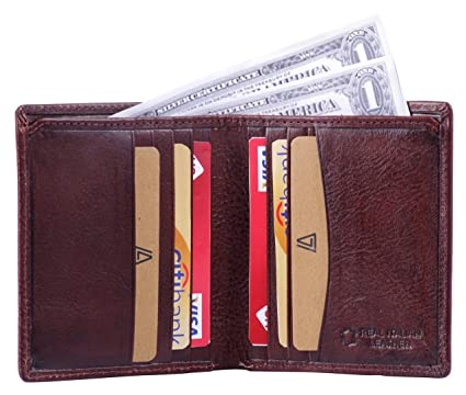 7c78b3d8021a Leather Architect -Men s Real Italian Leather Bifold Wallet with Vertical  Credit Card Slots and RFID
