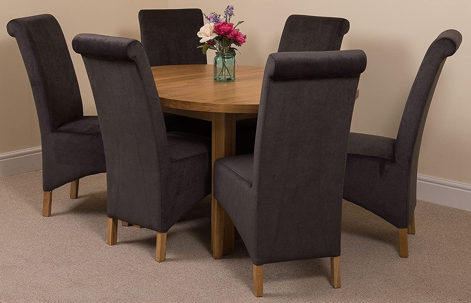 Modern furniture direct edmonton extending oval solid oak dining set table 6 black fabric chairs amazon co uk kitchen home