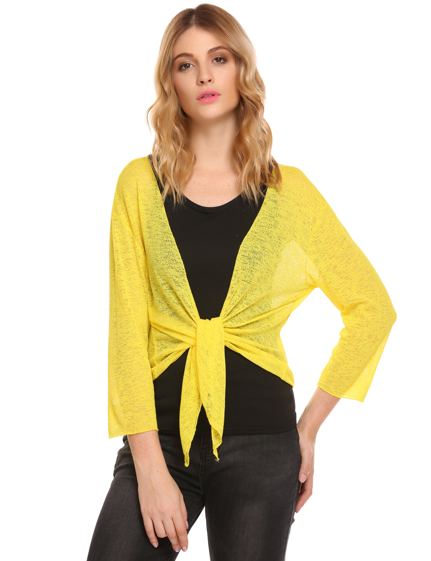 Beyove Women's Front Tie Beach Swimsuit Cover Up Shrug Knit Open Cardigan, X-Large, E Yellow