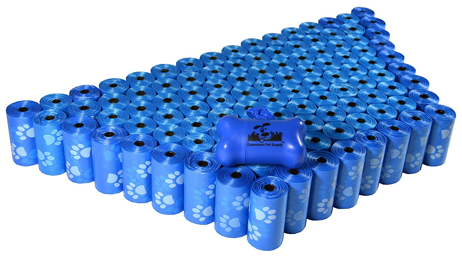 2200 Pet Waste Bags, Dog Waste Bags, Bulk Poop Bags on a roll, Clean up Poop Bag Refills (color  bluee with Paw Prints) + Free Bone Dispenser by Downtown Pet Supply