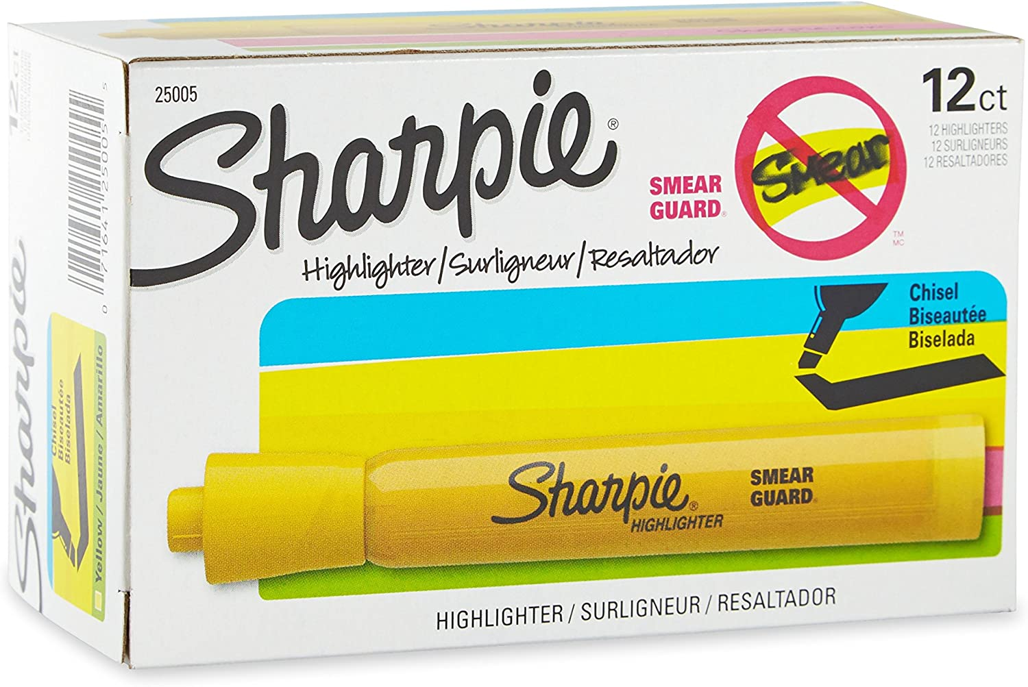 bright Sharpie 25005 Accent Tank Highlighters,Chisel Tip,Yellow,12-Count,Bold