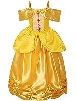 ReliBeauty Little Girls Princess Belle Costume Sleeveless Layered Dress up