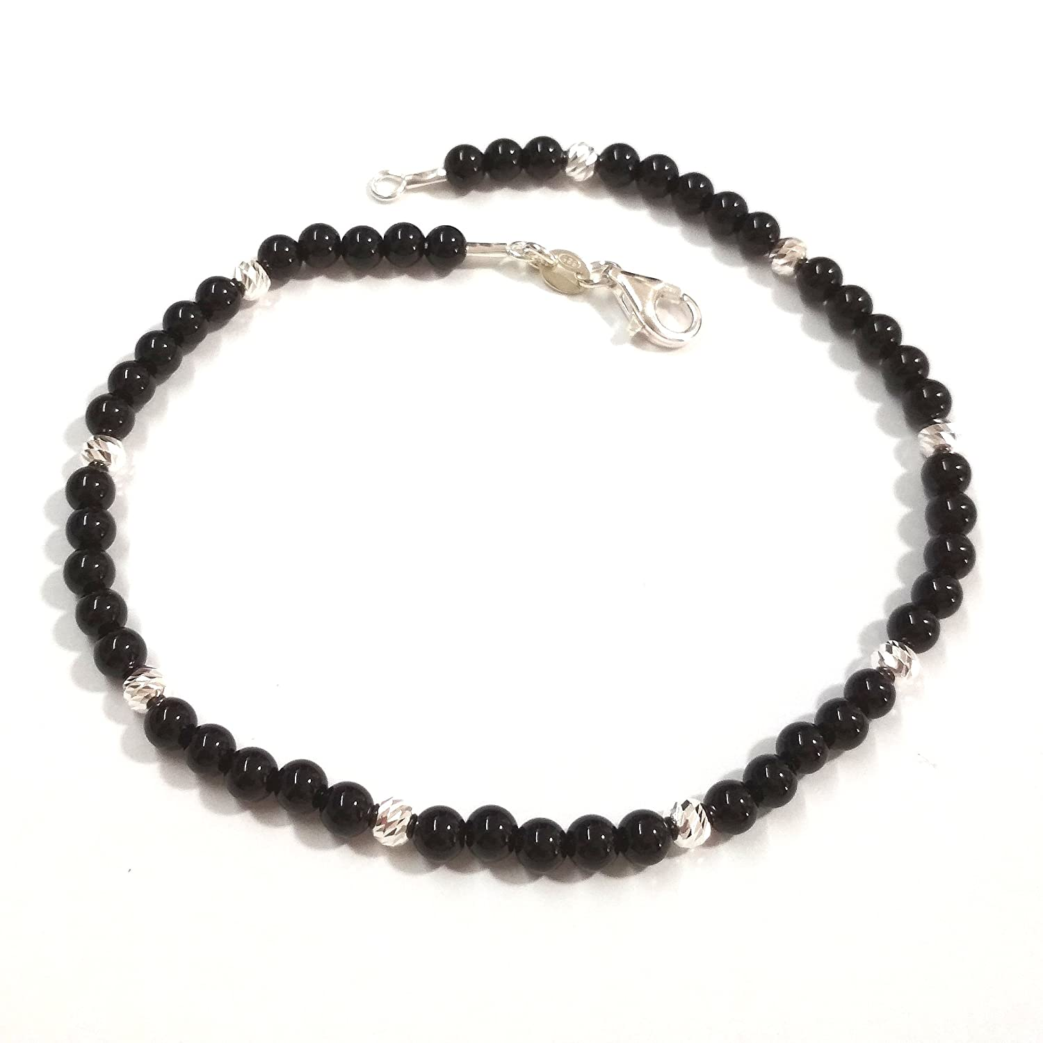 4mm Black ONYX and 925 Sterling Silver Laser Cut Beads Beaded ANKLET. Unisex. Made to your size.