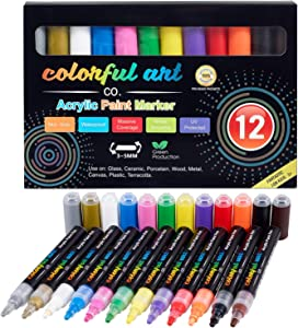 Paint Pens – 12 Premium Acrylic Paint Pens & Rock Painting Kit for Painting Rocks, Pebbles, Glass, Ceramic, Wood, Porcelain Permanent Water Based Waterproof Paint Marker Pens with 3-5mm Reversible Tip