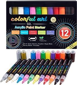 Paint Pens – 12 Premium Acrylic Paint Pens & Rock Painting Kit for Painting Rocks, Pebbles, Glass, Ceramic, Wood, Porcelain Permanent Water Based Waterproof Paint Marker Pens with 3-5mm Reversible Tip