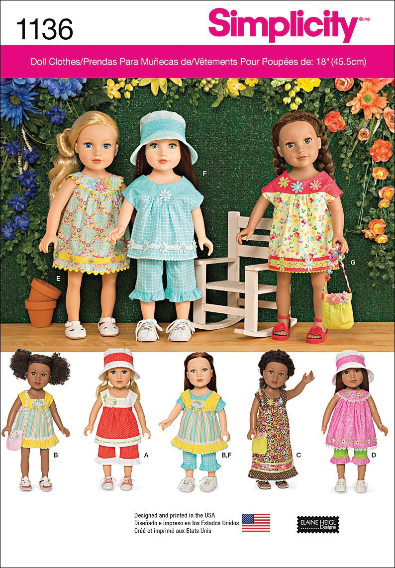 One Size Only Simplicity 1136 Doll Clothes Sewing Pattern for 18 Dolls