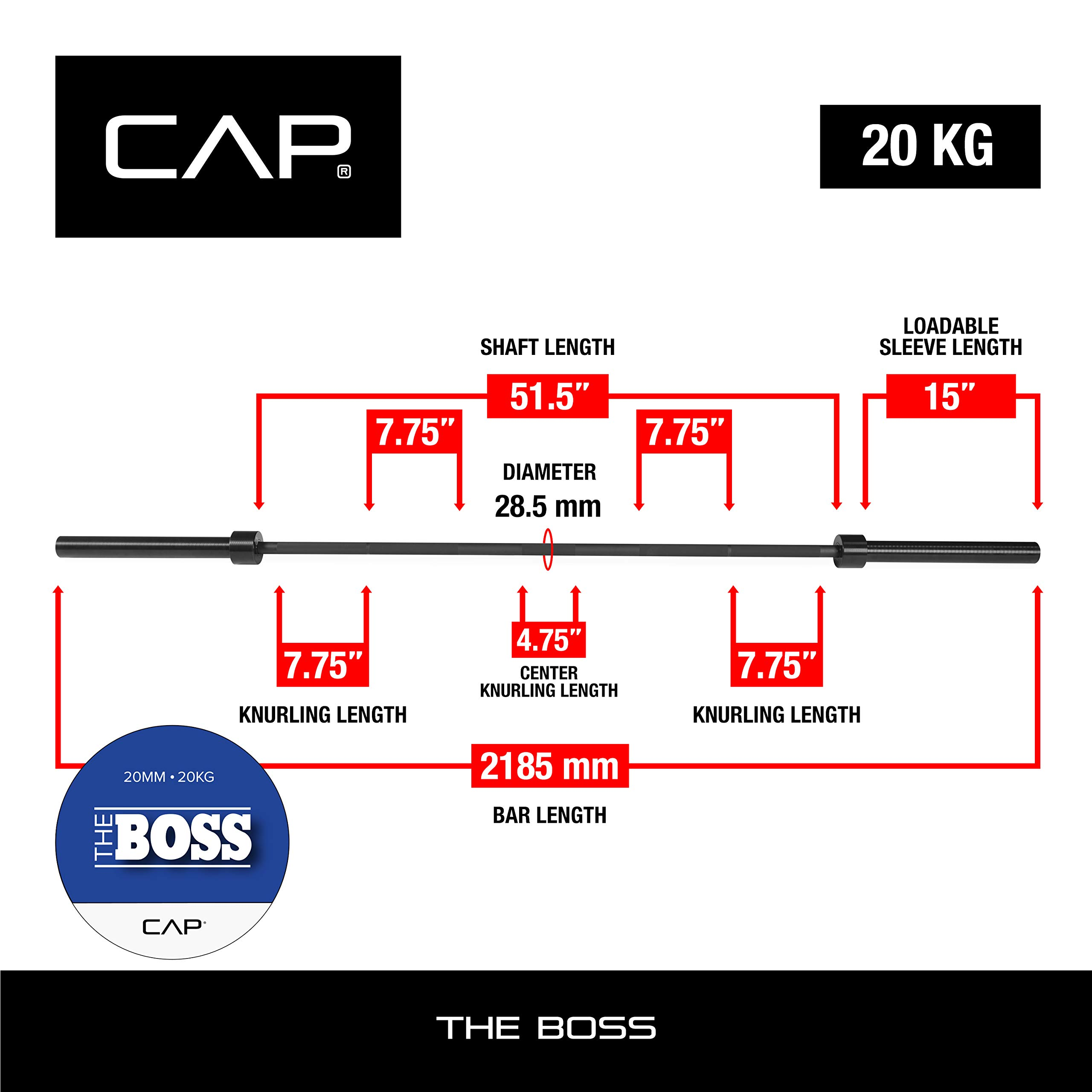 """CAP Barbell """"The Boss"""" Power Squat Olympic Bar   for Weightlifting by CAP Barbell (Image #3)"""