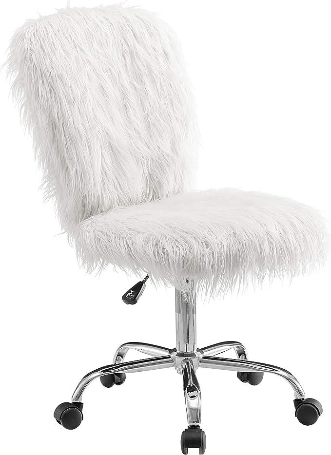 Amazon Com Linon Cora Faux Flokati Armless Office Chair White Furniture Decor