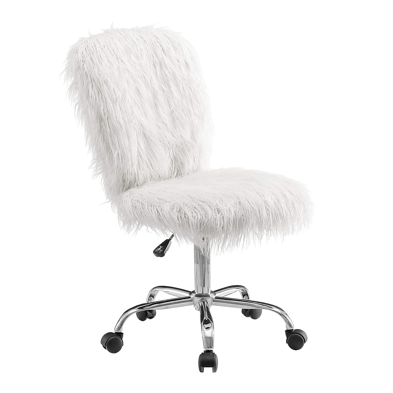 Outstanding Linon Cora Faux Flokati Armless Office Chair White Inzonedesignstudio Interior Chair Design Inzonedesignstudiocom