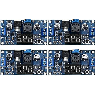 4 Pieces Adjustable LM2596S DC-DC Buck Converter Step-Down Voltage Regulator Power Module 36V 24V 12V to 5V 2A Voltage Stabilizer with Digital Voltmeter Display: Home Audio & Theater