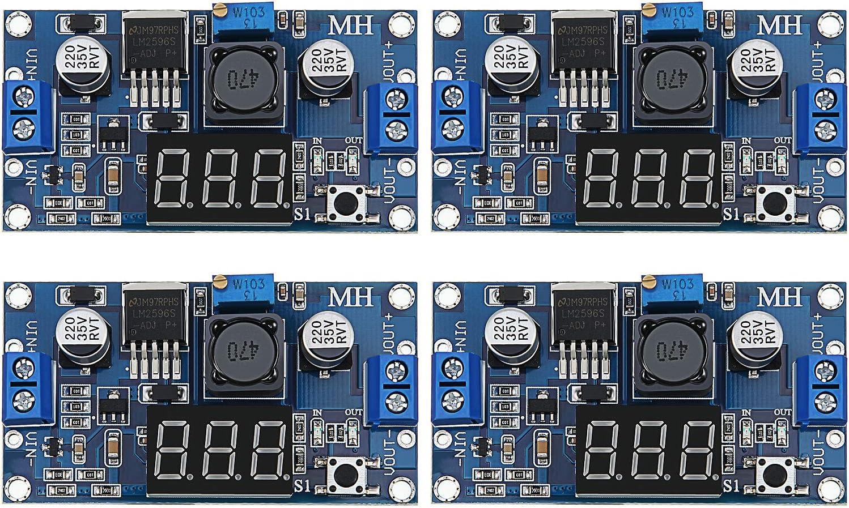 4 Piezas LM2596S DC-DC Buck Convertidor Step-Down Regulador de Voltaje Power Module 36V 24V 12V a 5V 2A Estabilizador de Voltaje con visualización de voltímetro Digital