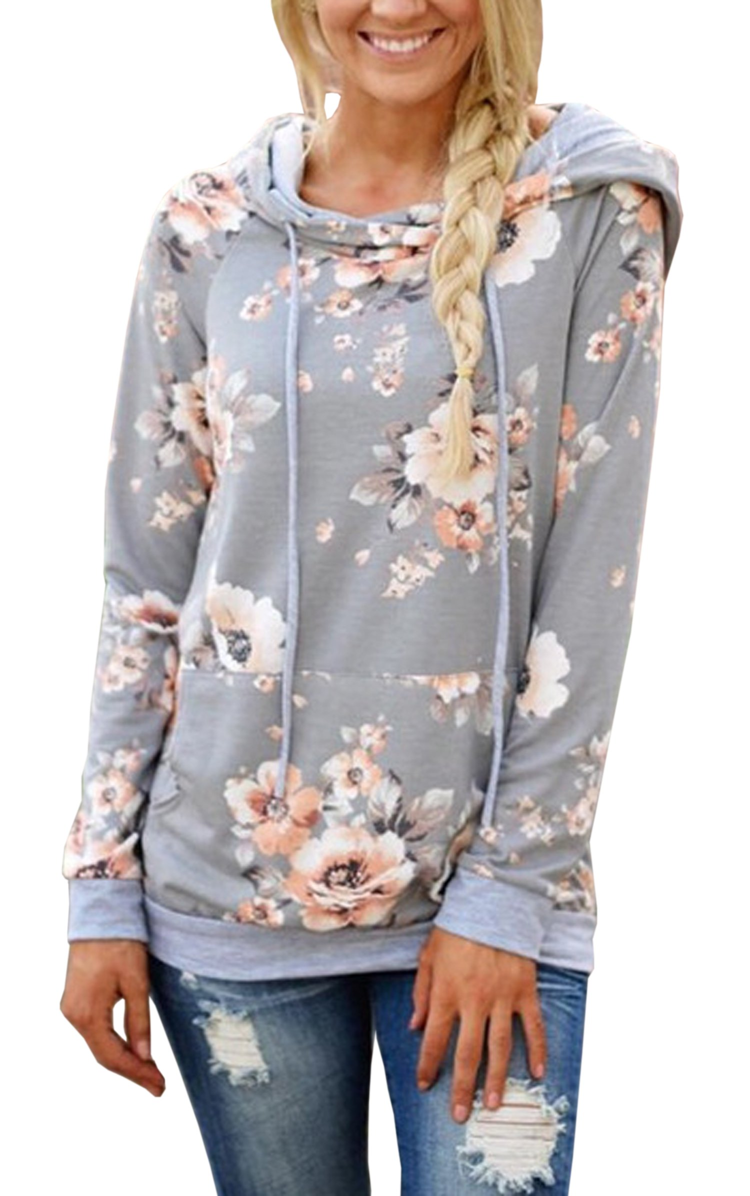 Hibluco Women's Casual Floral Printed Hoodie Pullover Sweatshirts with Pockets (Medium, Gray)