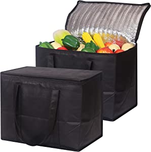Set of 2 Large Insulated Reusable Grocery Bags with Sturdy Zipper and Handles, Foldable Washable Heavy Duty Cooler Totes for Hot or Cold Food Delivery, Groceries, Travel, Shopping