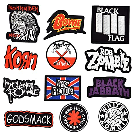 1x Rock Band Patches Embroidered Cloth Applique Iron Sew On Bon Jovi Bowie Korn