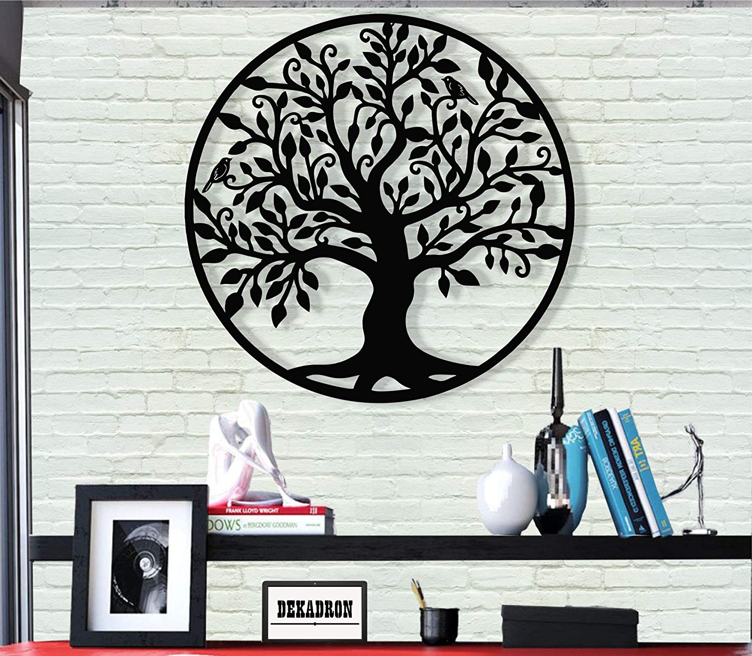 "DEKADRON Metal Wall Art - Tree of Life - Family Tree - 3D Wall Silhouette Metal Wall Decor Home Office Decoration Bedroom Living Room Decor Sculpture (17"" W x 18"" H/44x46cm)"